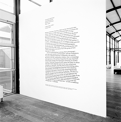 Wall Text: Translated Working/Translated Work: Barbara fisherman 1990-2006